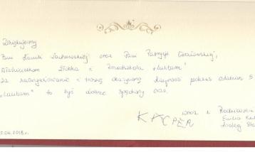 Podziękowanie - Rodzice Kacpra